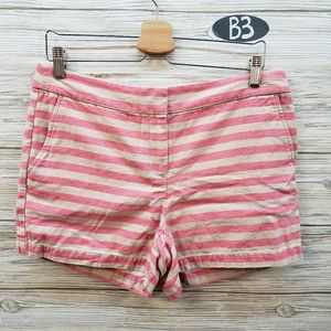 Loft Beige and pink Striped Chino Shorts